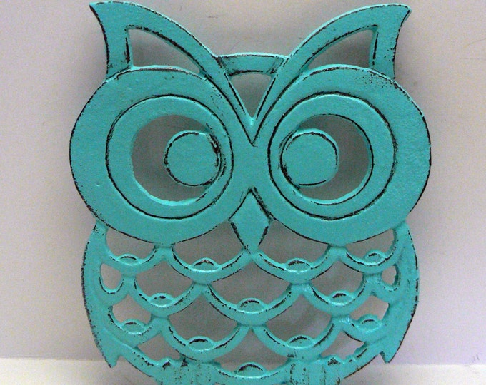 Cast Iron Owl Trivet Turquoise Shabby Chic Woodland Kitchen Hot Plate Home Decor