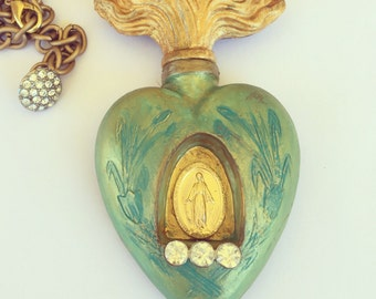 Hand Painted Green and Gold Milagro Necklace with Religios Medal