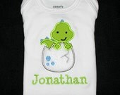 Custom Personalized Applique DINOSAUR in EGG and NAME Bodysuit or Shirt - Lime Green