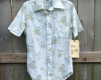 Vintage Men's 1970s Montgomery Ward Short Sleeved Button Down Shirt