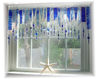 True Blue Number ONE  Stained Glass Window Treatment Valance Kitchen Valance Bathroom Valance Bedroom Valance