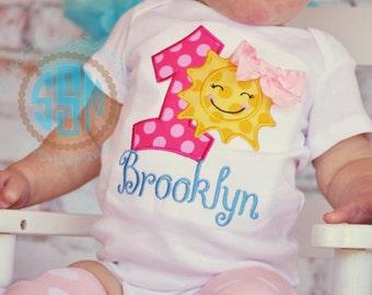 Sunshine Birthday Applique Body Suit or Ruffle Shirt, First Birthday Shirt, Summer Birthday Shirt, Sunshine Birthday