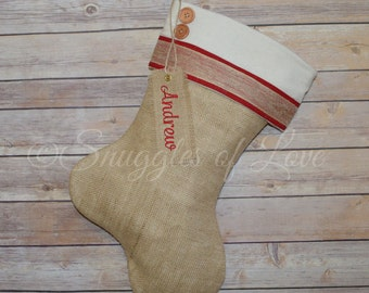 Personalized Burlap Christmas Stocking - Embroidered Burlap Stocking - Red and Cream Stocking with Burlap Ribbon, Buttons & Embroidered Tag