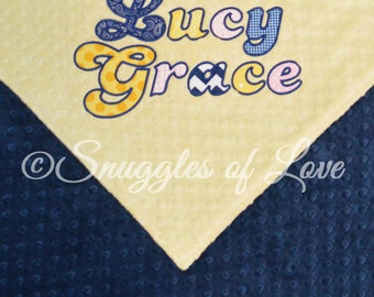 Navy and Yellow Blanket - Yellow and Navy Baby Blanket - Yellow and Blue Minky Blanket - Minky Baby Blanket - Personalized Blanket, Applique