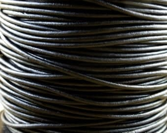 Premium Quality Leather Cord - Natural Black 1.5mm Round Leather Cord - 2 Yards - nb1.5