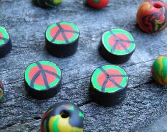Thirteen Assorted Polymer Clay Beads (Handmade) (One of a Kind)