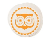 Eco Coasters Retro Owl Letterpress - Vintage Orange Recycled