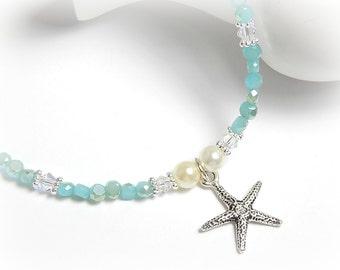 Starfish Anklet, Turquoise Blue Crystal Ankle Bracelet, Sterling Silver Anklet, Adjustable Anklet for Women
