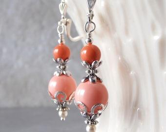 Coral Bridesmaid Earrings, Swarovski Elements Pearl Earrings, Beaded Bridal Earrings, Handmade Bridal Party Earrings, Coral Wedding Jewelry
