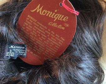 "Monique Dark Brown Doll Wig, Bebe size 14-15"", new old stock Vintage doll wig"