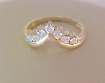 BLING~Cubic Zirconia (Vermeil) Gold plate over Silver Wedding Ring ~ Size 7 3/4