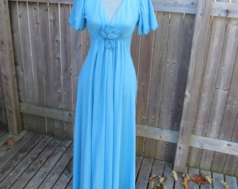 Vintage 1960s Maxi Dress, Wedding Attire, Flutter Sleeves, Modified Empire Waist, Zipper Back, Gathered Front, Boho, Hipster, Mod, Hostess