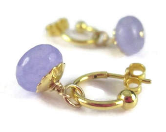 Tiny Interchangeable Hoop Earrings 14K Gold Filled with Violet Purple Stone Drops