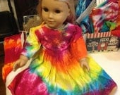 RESERVE Listing FOR RACHEL Tie Dyed Rainbow Doll Long Sleeve Dress, Girl's Long Sleeve Dress, Rainbow Tights, Rainbow Training undies