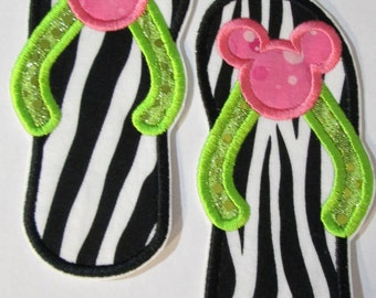 Mouse Head Flip Flops - Iron On or Sew On Embroidered Applique  - SHIPS FAST
