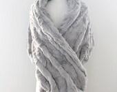 Wedding shawl | Winter Wedding | Bridal Fur Stole | Faux Fur Wrap [York Fur Shawl: Silver Birch]