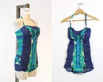 50s Swimsuit Miss Hawaii One Piece XS / 1950s Batik Halter Swimsuit /  Honolulu Hills Maillot