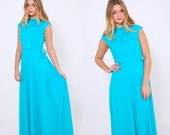 Vintage 70s AQUA Green Maxi Dress Retro GLAM Evening Dress BELTED Maxi Dress Sleeveless Dress