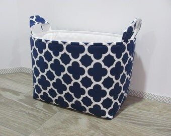 LARGE Fabric Organizer Basket Storage Container Bin - Size Large - Quatrefoil in navy blue