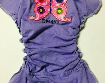 MamaBear One Size T-shirt Fitted Cloth Diaper, AIO/AI2 - Oregon Butterfy