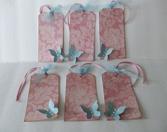 Handmade pink tags, Shabby Chic tags,Handmade tags, Blue butterfly tags