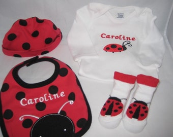 Lady Bug Set = Head to Toe -Personalized and Embroidered Baby Girl 4 Piece Gift Set -Onesie - Hat - Bib - Booties - Little Lady Bug