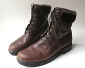 Timberland vintage Dark Brown Leather Ankle Boots  with Faux Fur Trim