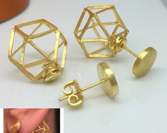 Gold wire cage front back earrings, front back earrings, ear jacket, double sided earrings, ear cuff jacket