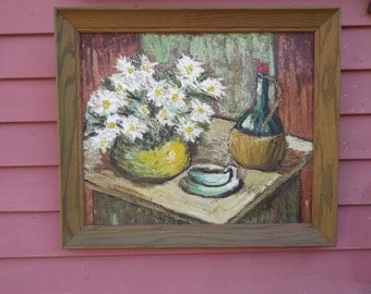 Vintage Retro Daisies and Wine Still Life Oil Painting on Board Textured Time Life NY