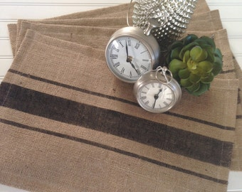 Burlap Grainsack  Black Stripe Placemats  Farmhouse / Beach / Coastal Cottage / Lake House / Rustic