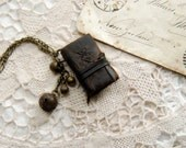 The Little Gypsy - Miniature Wearable Book, Dark Brown Leather, Tea Stained Pages & Vintage Bells, OOAK