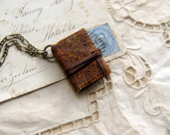 The Journeyman - Miniature Wearable Book, Antique Leather, Blue Stained Pages, OOAK