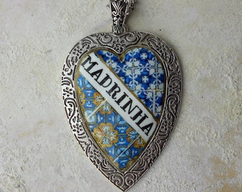 Portugal Antique Azulejo Tile MADRINHA GOLDMOTHER Necklace from BARCELOS and 17th Century Tiles fro Lisbon (see actual Facade photos)