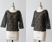 1940s 1950s Blouse / Black Lace Blouse / 1940s Blouse / 40s Nylon Blouse / Scoop Neckline / Size Medium