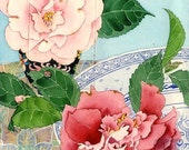 Camelias: Gabby Malpas watercolour C6 greeting card and envelope