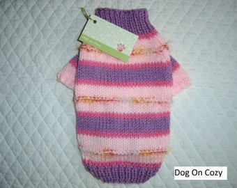 Colorful Dog Sweater, Raglan Sleeve Pet Sweater, Full Length, Size XSMALL, Dazzle Lilac and Pink