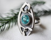 Gem Grade Apatite Ring/ Paraiba Blue Apatite/ Art Nouveau Style Ring/ Layered Sterling Silver/Mistletoe Ring  / Winter Woodland/ Size 6.75