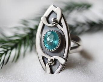 Gem Grade Apatite Ring/ Paraiba Blue Apatite/ Art Nouveau Style Ring/ Layered Sterling Silver/Mistletoe Ring  / Winter Woodland/ Size 6.75