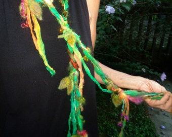 silk scarf lariat fantasy fiber art yarn braid autumn adornment - lady of leaves