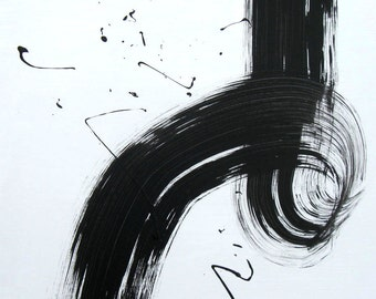 """Black and White abstract painting, original acrylic on canvas, 18"""" x 18"""", contemporary wall decor, modern home decor, gift idea"""