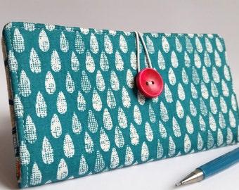 Rain Drops CHECKBOOK COVER in Aqua White Modern Fabric Gift for Her Handmade Wallet - Rainy Days