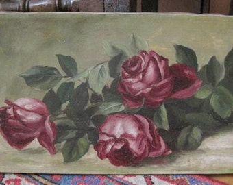 Antique Painting Roses Oil So Shabby
