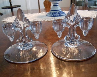 Pair of Double Candlesticks in Glass