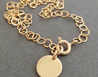 Delicate Gold Bracelet Initial Disc Bracelet thin dainty layering boho bracelet personalized best friend birthday gifts