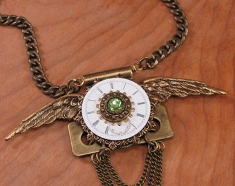 Steampunk Jewelry - Upcycled Watchface Pendant Necklace - AUGUST Birthday - Antique Brass Winged Door Hinge Necklace - Repurposed