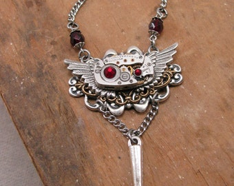 Steampunk Jewelry - Winged Steampunk Styled Watch Movement Necklace with Ruby and Spike Detailing - Rocker, Goth, Vintage Inspired