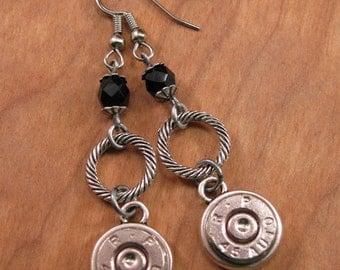 Bullet Jewelry - Gun Jewelry -  Nickel Bullet Casings with Black Onyx Beadwork Dangle Earrings - Best Seller for Four Years!