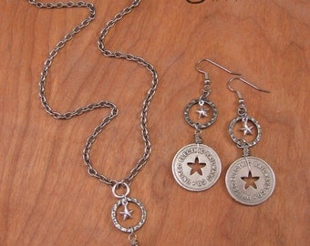 Coin Jewelry - Upcycled Transit Token Jewelry - Star Themed - United Electric Railways Transit Token Necklace & Earring Set