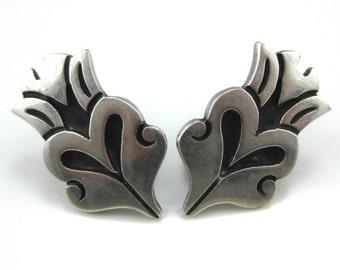 Screw BackEarrings, Taxco, Mexico, Sterling Silver, Heart Shape, Taxco Hallmark Earrings