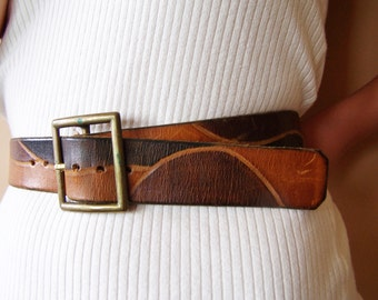 Leather Belt, Hand Tooled belt, Tooled Leather Belt, Southwestern Belt, size 36